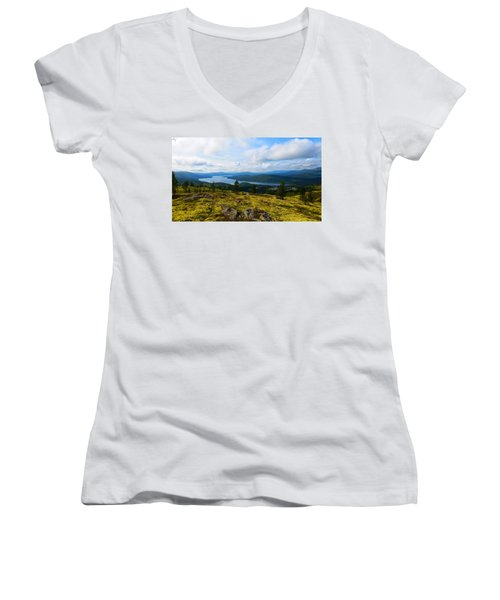 Norwegian Landscape 3 Women's V-Neck (Athletic Fit)