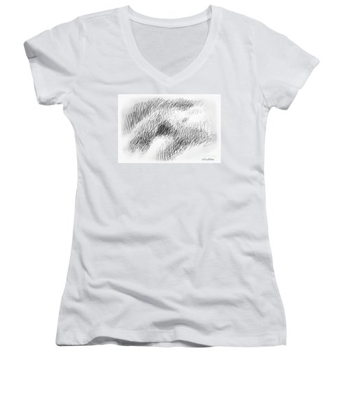 Nude Female Abstract Drawings 1 Women's V-Neck