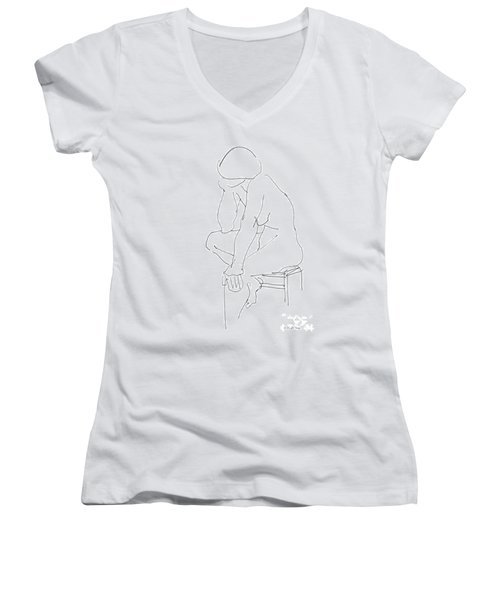 Nude Female Drawings 12 Women's V-Neck
