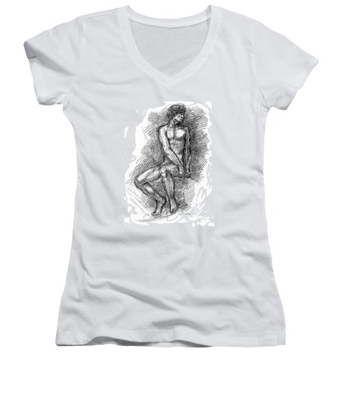 Nude Male Sketches 1 Women's V-Neck