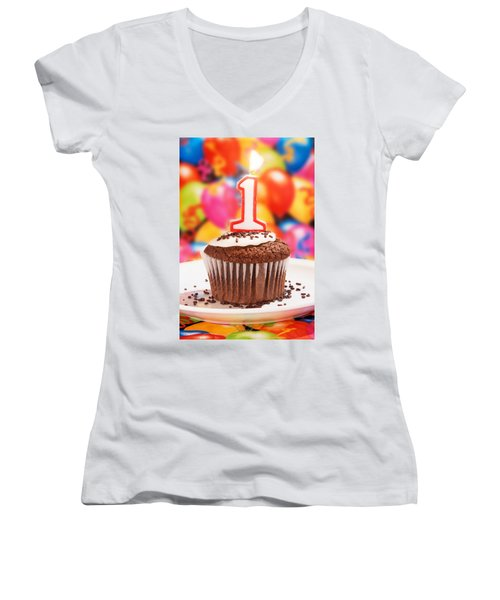 Women's V-Neck T-Shirt (Junior Cut) featuring the photograph Chocolate Cupcake With One Burning Candle by Vizual Studio