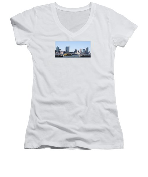Women's V-Neck T-Shirt (Junior Cut) featuring the photograph Ny Waterways by John Telfer