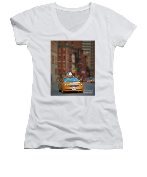Women's V-Neck T-Shirt (Junior Cut) featuring the digital art Taxi by Jerry Fornarotto