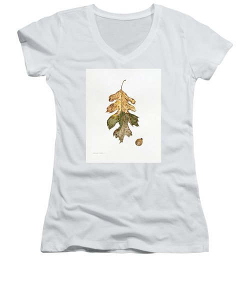 Women's V-Neck T-Shirt (Junior Cut) featuring the painting Oak Study by Michele Myers
