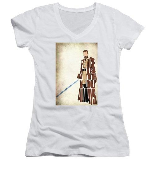 Obi-wan Kenobi - Ewan Mcgregor Women's V-Neck T-Shirt (Junior Cut) by Ayse Deniz