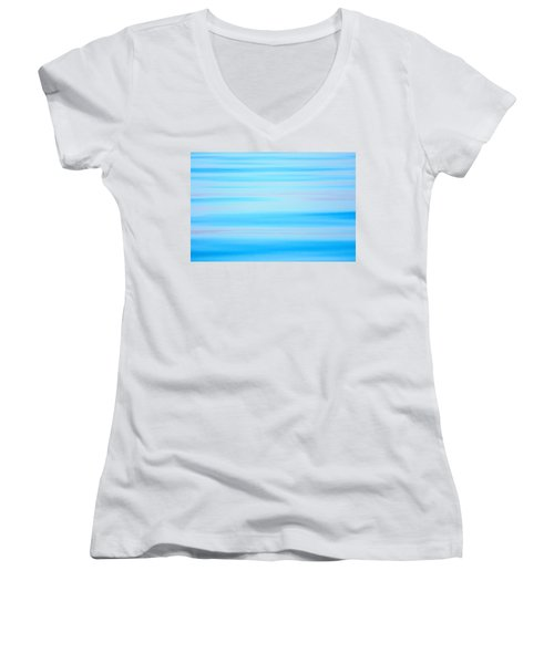 Women's V-Neck featuring the photograph Blue Ocean Abstract by Roxy Hurtubise