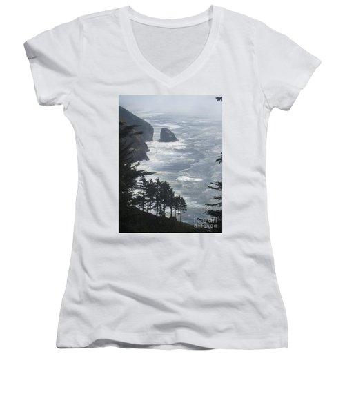 Ocean Drop Women's V-Neck T-Shirt (Junior Cut) by Fiona Kennard