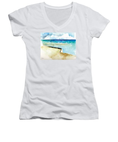Ocean Pier In Key West Florida Women's V-Neck T-Shirt