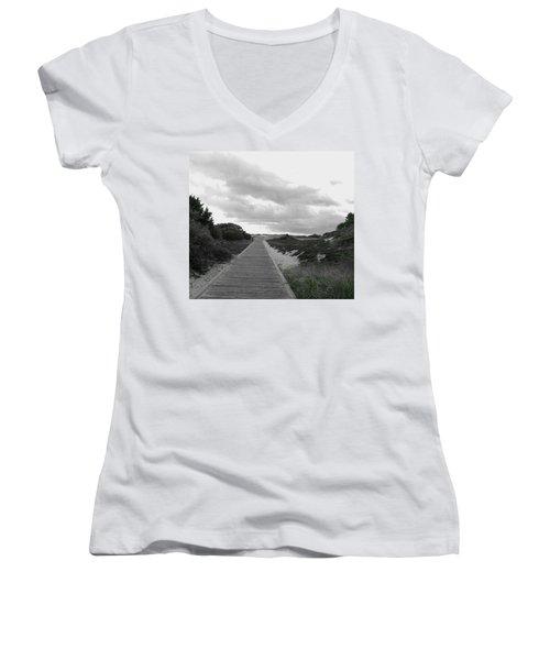 Women's V-Neck T-Shirt (Junior Cut) featuring the photograph Ocean Walk Island Beach State Park New Jersey by Pamela Hyde Wilson