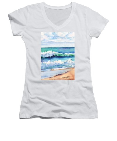 Women's V-Neck T-Shirt (Junior Cut) featuring the painting Ocean Waves Of Kauai I by Marionette Taboniar