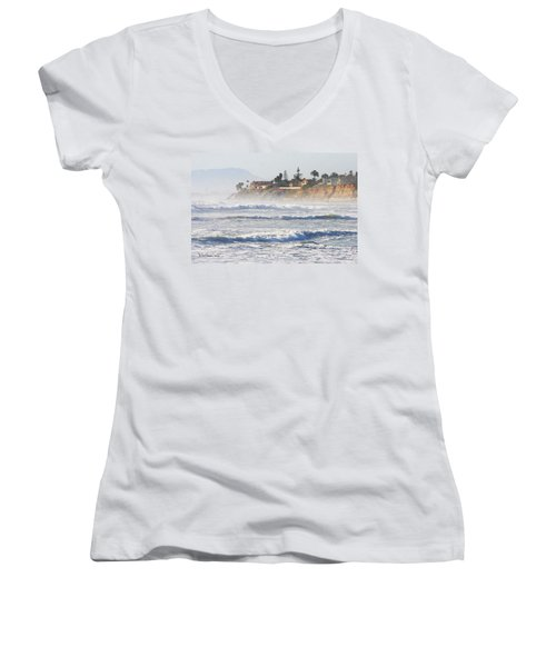 Women's V-Neck T-Shirt (Junior Cut) featuring the photograph Oceanside California by Tom Janca