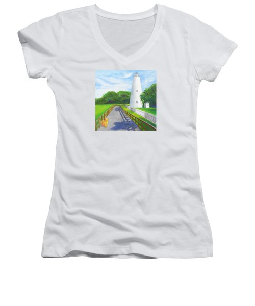 Ocracoke And Friend Women's V-Neck T-Shirt (Junior Cut) by Anne Marie Brown