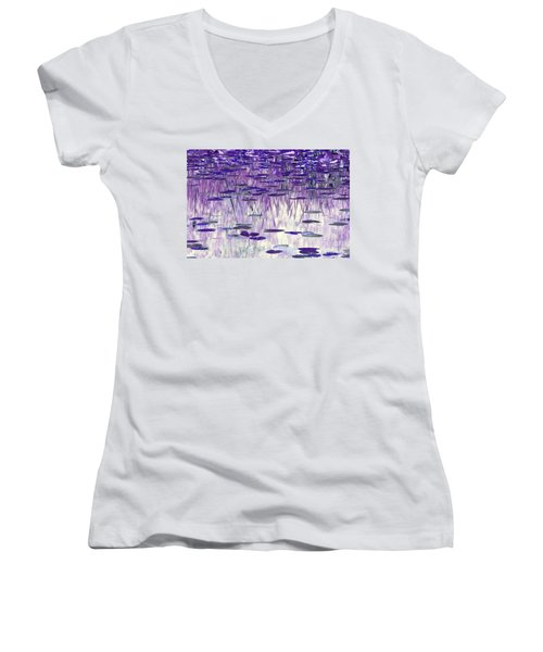 Women's V-Neck T-Shirt (Junior Cut) featuring the photograph Ode To Monet In Purple by Chris Anderson