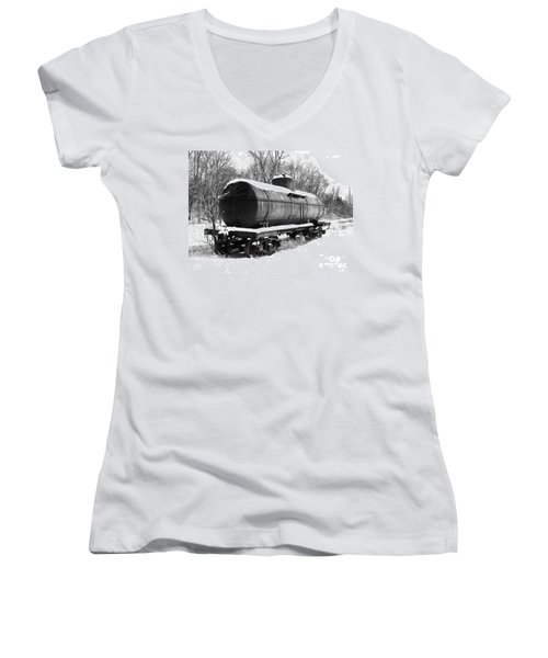 Women's V-Neck T-Shirt (Junior Cut) featuring the photograph Off The Beaten Track by Sara  Raber
