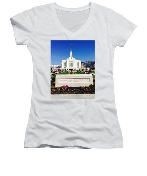 Ogden Temple 1 Women's V-Neck T-Shirt (Junior Cut) by Richard W Linford
