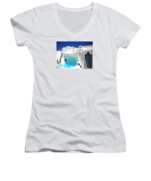 Oia Santorini  With Direct View To The Oceon Greece Women's V-Neck T-Shirt (Junior Cut) by Colette V Hera  Guggenheim