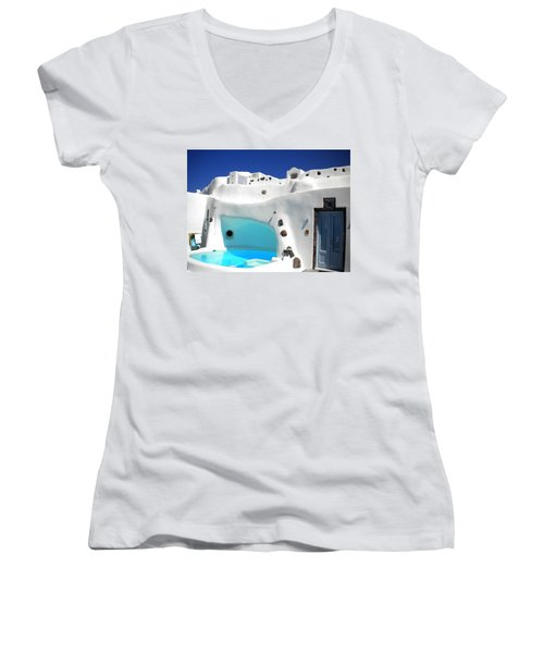 Oia Santorini  With Direct View To The Oceon Greece Women's V-Neck