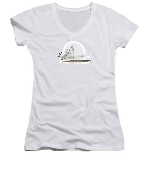 Women's V-Neck T-Shirt (Junior Cut) featuring the photograph Oil Field by Joel Loftus