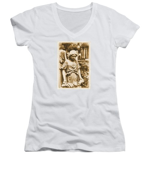 Blessed Angel   Women's V-Neck T-Shirt (Junior Cut) by Nadalyn Larsen