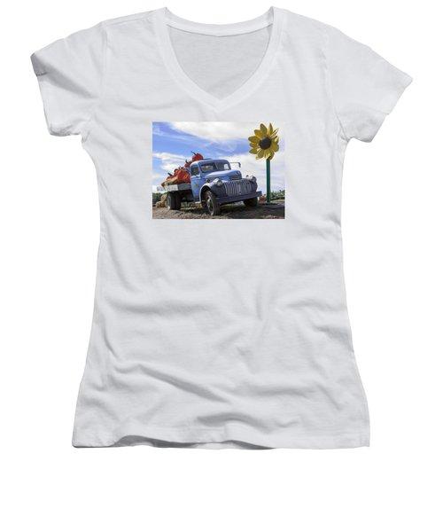Old Blue Farm Truck  Women's V-Neck T-Shirt (Junior Cut) by Patrice Zinck