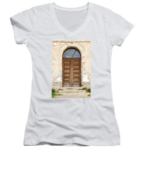 Women's V-Neck T-Shirt (Junior Cut) featuring the photograph Old Church Door by Les Palenik