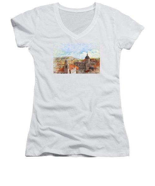 Old City Of Dubrovnik Women's V-Neck (Athletic Fit)