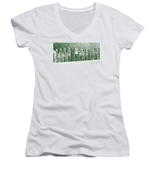 Women's V-Neck T-Shirt (Junior Cut) featuring the photograph Old Coke Bottles by Greg Reed