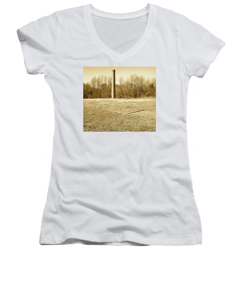 Old Faithful Smoke Stack Women's V-Neck (Athletic Fit)