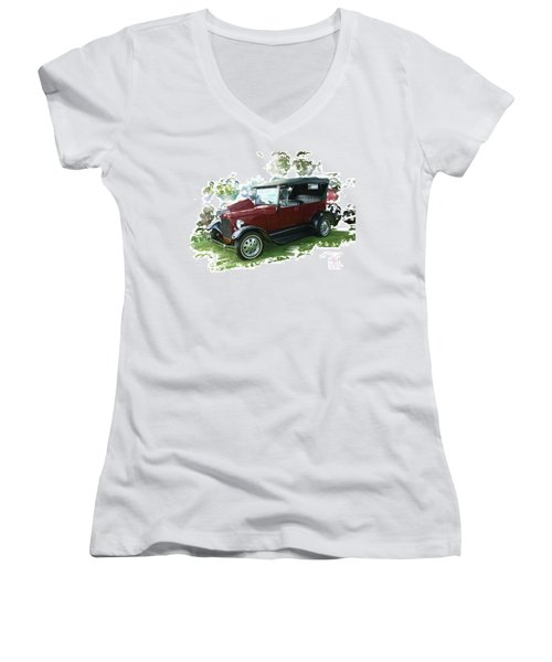 Old Ford Women's V-Neck T-Shirt (Junior Cut) by Debra Baldwin