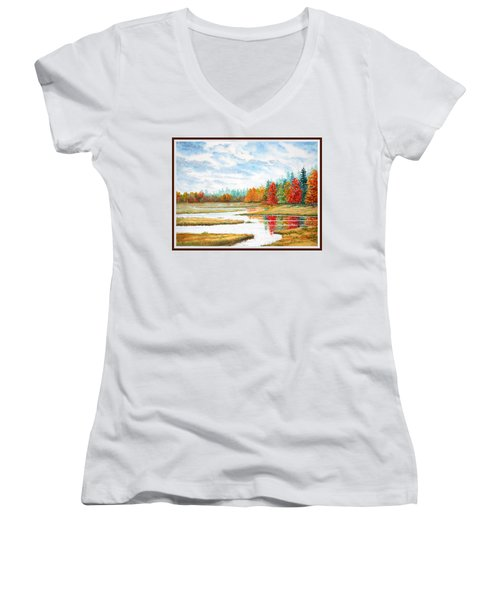 Old Forge Autumn Women's V-Neck T-Shirt