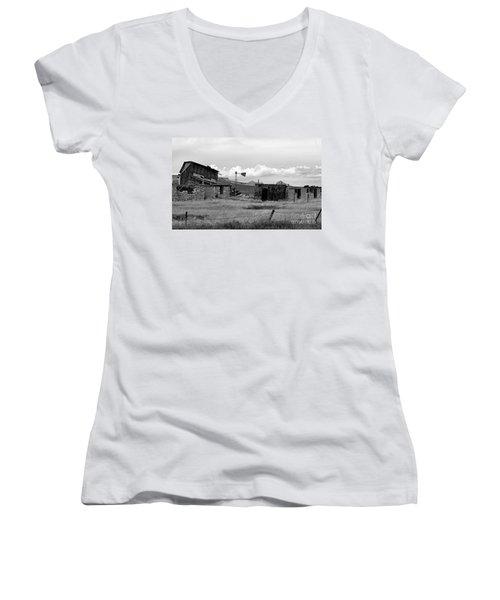 Old Fort Women's V-Neck T-Shirt (Junior Cut) by Steven Reed