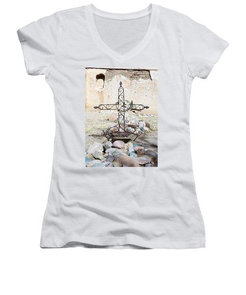 Women's V-Neck T-Shirt (Junior Cut) featuring the photograph Old Gravestone Marker by Kerri Mortenson