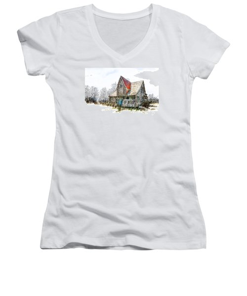 Old House Women's V-Neck T-Shirt (Junior Cut) by Debra Baldwin