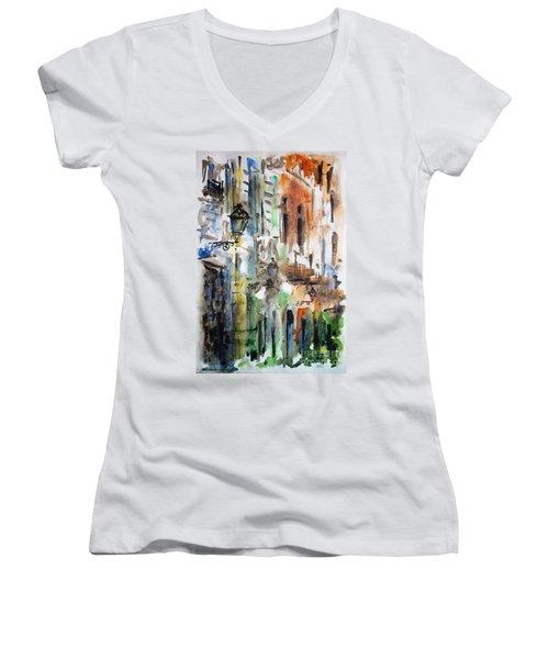 Old Houses Of San Juan Women's V-Neck T-Shirt (Junior Cut) by Zaira Dzhaubaeva