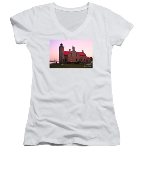 Women's V-Neck T-Shirt (Junior Cut) featuring the photograph Old Mackinac Point Lighthouse by Terri Gostola