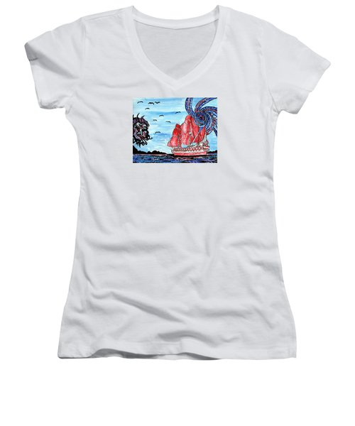 Old Man And The Sea Women's V-Neck T-Shirt
