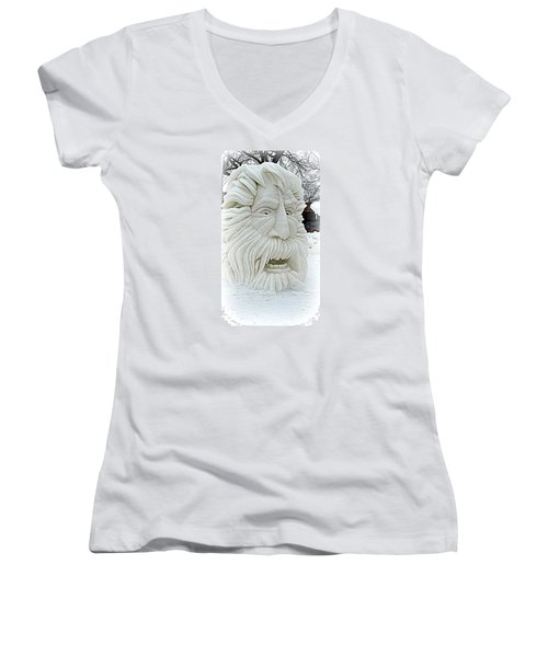 Old Man Winter Snow Sculpture Women's V-Neck T-Shirt (Junior Cut) by Kay Novy