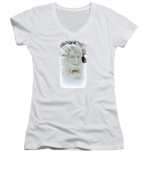 Old Man Winter Snow Sculpture Women's V-Neck T-Shirt