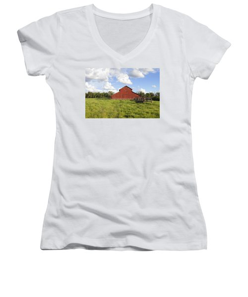 Women's V-Neck T-Shirt (Junior Cut) featuring the photograph Old Red Barn by Mark Greenberg