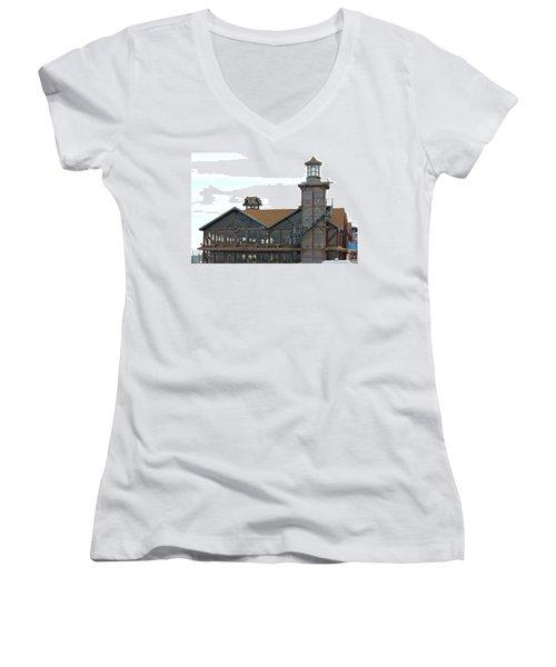 Old Restaurant                 Women's V-Neck T-Shirt (Junior Cut) by Lorna Maza