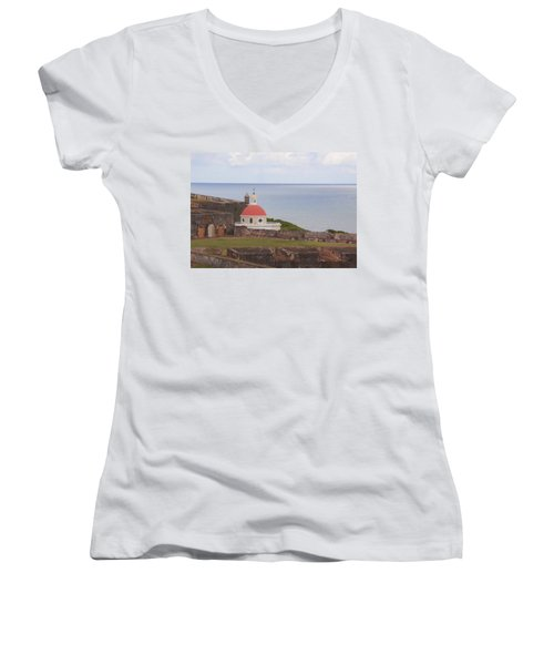 Women's V-Neck T-Shirt (Junior Cut) featuring the photograph Old San Juan by Daniel Sheldon