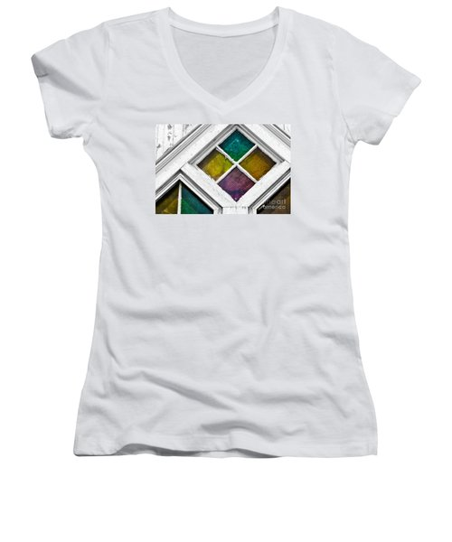 Old Stained Glass Windows Women's V-Neck T-Shirt