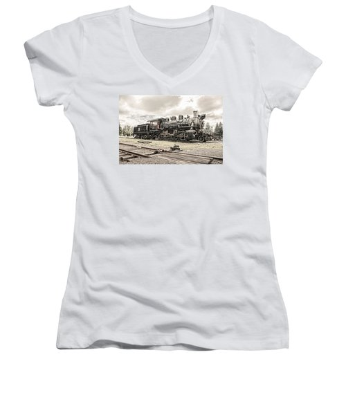 Women's V-Neck T-Shirt (Junior Cut) featuring the photograph Old Steam Locomotive No. 97 - Made In America by Gary Heller