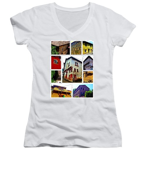 Old Turkish Houses Women's V-Neck T-Shirt (Junior Cut) by Zafer Gurel