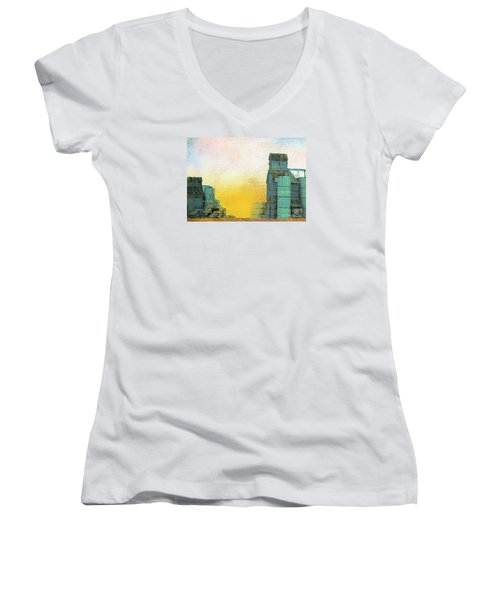 Old Used Grain Elevator Women's V-Neck T-Shirt (Junior Cut) by Janette Boyd