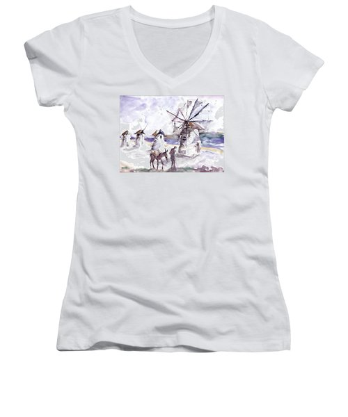 Old Windmills At Bodrum Women's V-Neck T-Shirt