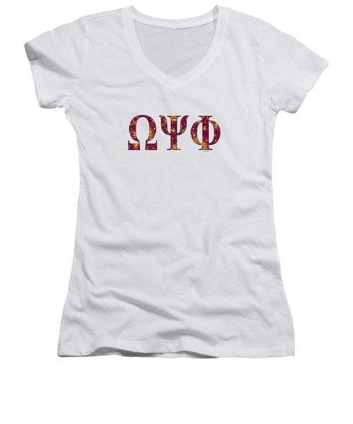 Omega Psi Phi - White Women's V-Neck T-Shirt (Junior Cut) by Stephen Younts