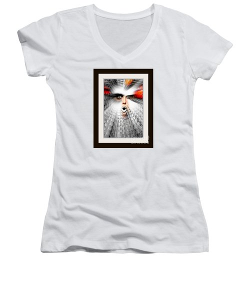 Women's V-Neck T-Shirt (Junior Cut) featuring the painting OMG by Rafael Salazar