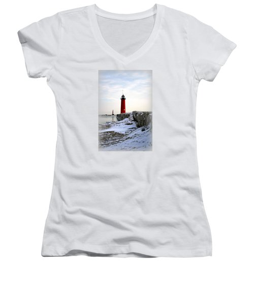 On A Cold Winter's Morning Women's V-Neck T-Shirt (Junior Cut) by Kay Novy
