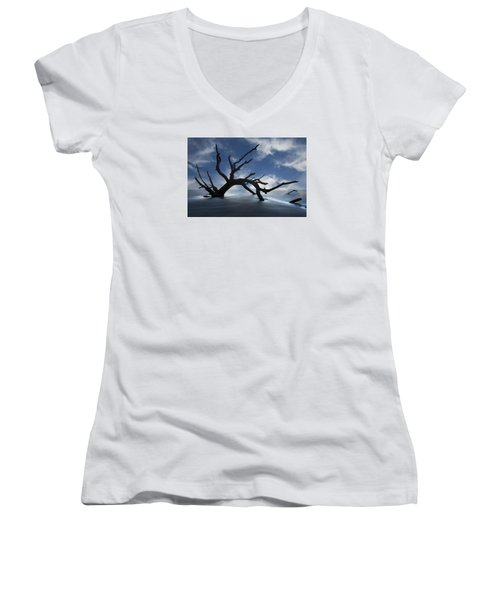 Women's V-Neck T-Shirt (Junior Cut) featuring the photograph On A Misty Morning by Debra and Dave Vanderlaan